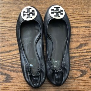 Black and Silver Tory Burch Flats